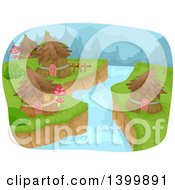 Clipart Of A Creek Through A Fairy Village Royalty Free Vector Illustration by BNP Design Studio