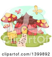 Clipart Of A Cute Fairy House With Mushrooms And Butterflies Royalty Free Vector Illustration