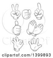 Cartoon Grayscale Hands Gesturing