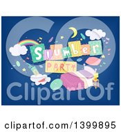 Clipart Of A Slumber Party Banner Over A Bed On Blue Royalty Free Vector Illustration