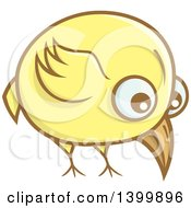 Clipart Of A Yellow Bird Pecking The Ground Royalty Free Vector Illustration