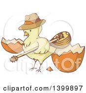 Poster, Art Print Of Yellow Chick Holding A Bouzouki By A Cracked Egg
