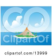Sailboat On The Horizon Near An Erupting Volcano On A Tropical Island Clipart Illustration