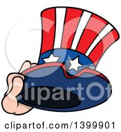 Clipart Of A Cartoon Hand Holding A Patriotic American Top Hat Like Uncle Sams Royalty Free Vector Illustration