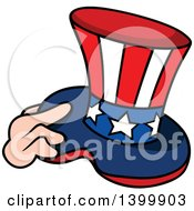 Cartoon Hand Holding A Patriotic American Top Hat Like Uncle Sams