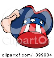 Clipart Of A Cartoon Hand Holding A Patriotic American Top Hat Like Uncle Sams Royalty Free Vector Illustration by dero