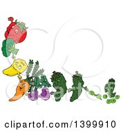 Cartoon Tomato Broccoli Bell Pepper Carrot Eggplants Cucumber And Pea Characters Holding Hands And Forming A Border