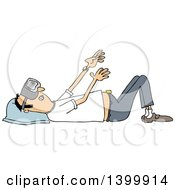 Clipart Of A Cartoon White Man Laying On His Back And Wearing Virtual Reality Glasses Royalty Free Vector Illustration by djart