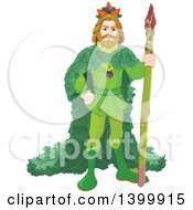 Clipart Of A Vegetable King Standing With An Asparagus Stalk Royalty Free Vector Illustration by Pushkin
