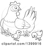 Clipart Of A Black And White Lineart Mother Hen Chicken And Chicks Royalty Free Vector Illustration by Pushkin