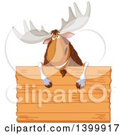 Clipart Of A Happy Moose Smiling Over A Blank Wood Sign Royalty Free Vector Illustration