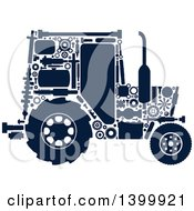 Clipart Of A Silhouetted Tractor With Visible Mechanical Parts Royalty Free Vector Illustration