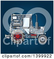 Poster, Art Print Of Tractor With Visible Mechanical Parts On Blue