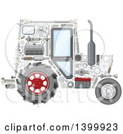 Clipart Of A Tractor With Visible Mechanical Parts Royalty Free Vector Illustration