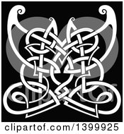 Clipart Of A White Celtic Knot Butterfly On Black Royalty Free Vector Illustration by Vector Tradition SM