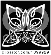 Clipart Of A White Celtic Knot Butterfly On Black Royalty Free Vector Illustration