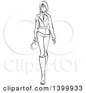 Clipart Of A Sketched Black And White Walking Runway Fashion Model Royalty Free Vector Illustration by Vector Tradition SM