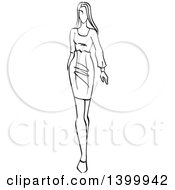 Sketched Black And White Walking Runway Fashion Model