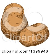 Clipart Of Sketched Potatoes Royalty Free Vector Illustration