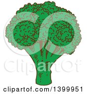 Clipart Of A Sketched Broccoli Head Royalty Free Vector Illustration by Vector Tradition SM