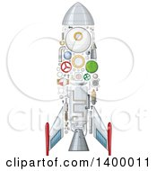 Clipart Of A Rocket With Visible Mechanical Parts Royalty Free Vector Illustration