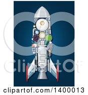 Clipart Of A Rocket With Visible Mechanical Parts On Blue Royalty Free Vector Illustration by Vector Tradition SM