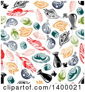 Clipart Of A Seamless Background Pattern Of Asian Cuisine Royalty Free Vector Illustration