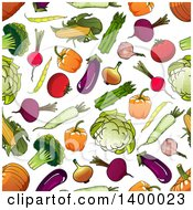 Clipart Of A Seamless Background Pattern Of Veggies Royalty Free Vector Illustration