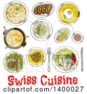 Clipart Of A Sketched Meal Of Swiss Cuisine Dishes Royalty Free Vector Illustration by Vector Tradition SM