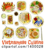 Clipart Of A Sketched Meal Of Vietnamese Cuisine Dishes Royalty Free Vector Illustration by Vector Tradition SM
