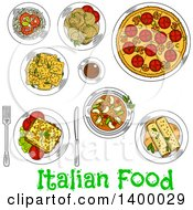 Clipart Of A Sketched Meal Of Italian Cuisine Dishes Royalty Free Vector Illustration by Seamartini Graphics