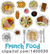 Clipart Of A Sketched Meal Of French Cuisine Dishes Royalty Free Vector Illustration by Vector Tradition SM