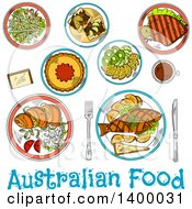 Clipart Of A Sketched Meal Of Austuralian Cuisine Dishes Royalty Free Vector Illustration