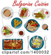 Clipart Of A Sketched Meal Of Bulgarian Cuisine Dishes Royalty Free Vector Illustration