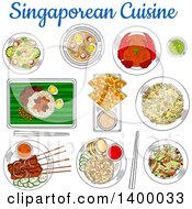 Clipart Of Sketched Singaporean Cuisine With Chilli Crab Fried Rice Beef Satay Flatbread Tartar Sauce Spicy Shrimp Soup Fried Noodles Chicken Liver With Rice And Vegetable Salad With Smoked Salmon Royalty Free Vector Illustration