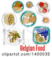 Clipart Of A Sketched Meal Of Belgian Cuisine Dishes Royalty Free Vector Illustration by Vector Tradition SM