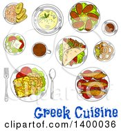 Clipart Of A Sketched Meal Of Greek Cuisine Dishes Royalty Free Vector Illustration by Vector Tradition SM