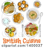 Clipart Of A Sketched Meal Of British Cuisine Dishes Royalty Free Vector Illustration by Vector Tradition SM