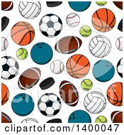 Clipart Of A Seamless Background Pattern Of Sports Equipment Royalty Free Vector Illustration by Vector Tradition SM