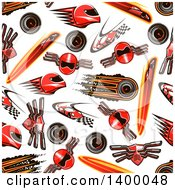 Clipart Of A Seamless Background Pattern Of Car Raicing Items Royalty Free Vector Illustration by Seamartini Graphics