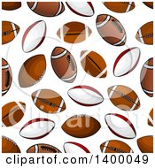 Clipart Of A Seamless Background Pattern Of Rugby And American Footballs Royalty Free Vector Illustration