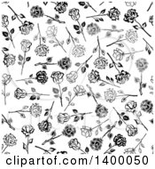 Seamless Background Pattern Of Black And White Roses