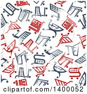 Clipart Of A Seamless Background Pattern Of Shopping Carts Royalty Free Vector Illustration by Vector Tradition SM