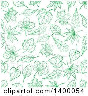 Clipart Of A Seamless Background Pattern Of Green Leaves Royalty Free Vector Illustration