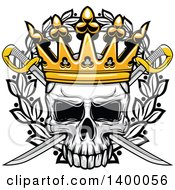 Clipart Of A Skull And Crossed Swords With A Crown Over A Wreath Royalty Free Vector Illustration