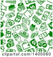 Clipart Of A Seamless Background Pattern Of Green Money Icons Royalty Free Vector Illustration