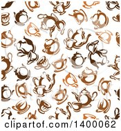 Clipart Of A Seamless Background Pattern Of Coffee And Tea Royalty Free Vector Illustration by Vector Tradition SM
