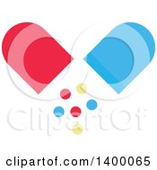 Clipart Of A Flat Design Pill Capsule And Falling Circles Royalty Free Vector Illustration by Vector Tradition SM