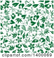 Clipart Of A Seamless Background Pattern Of Green Leaves Royalty Free Vector Illustration by Vector Tradition SM