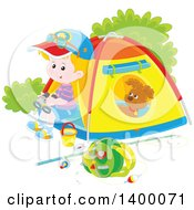 Clipart Of A Happy Caucasian Boy And Puppy At A Camp Site Royalty Free Vector Illustration by Alex Bannykh
